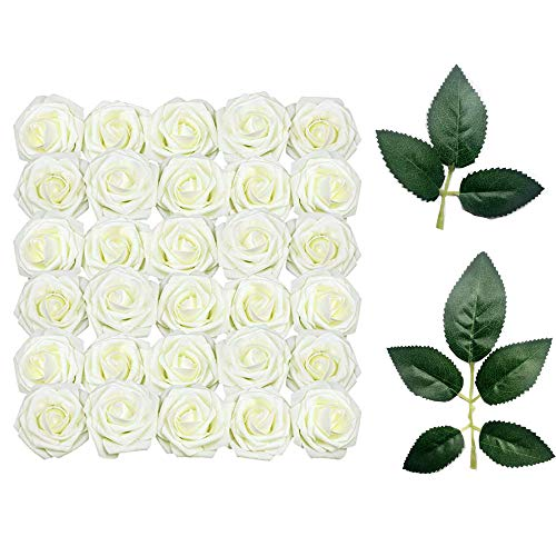 Sprießen 50 Stück künstliche Rosen für DIY Blumensträuße Hochzeit Party Baby Dusche Home Geburtstag Party Dekoration 10 dekorative grüne Blätter(Weiß