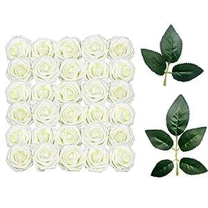 Rosas Artificiales Blanco, 60 Rosas Artificiales de Tacto Real y 10 Hojas Artificiales para Ramos, Bodas, Baby Shower, DIY Decoración del Hogar