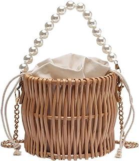حقيبة يد Amosfun مصنوعة يدويًا من قماش قطني منسوج على شكل راتان من القماش القطني - حقيبة يد من الخيزران Vintga - حقيبة يد ...