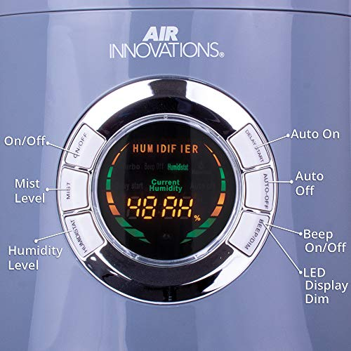 Air Innovations MH-701B-PLAT Great Clean Mist Digital Tabletop and Floor Standing Humidifier with Remote, Platinum