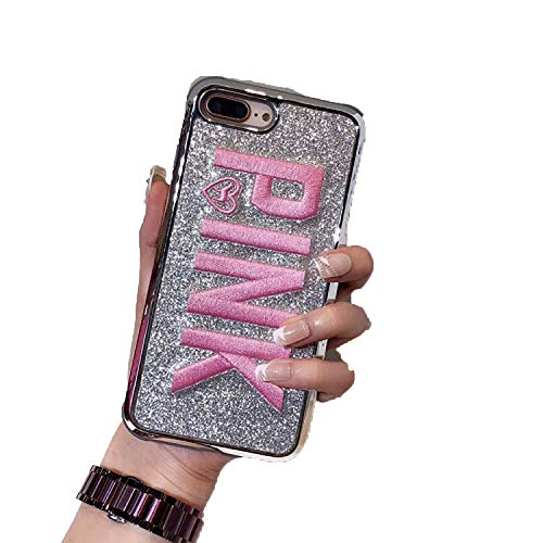 Cute 3D Embroidery Pink Pink Glitter Bling Soft Phone case for iPhone 6 6s