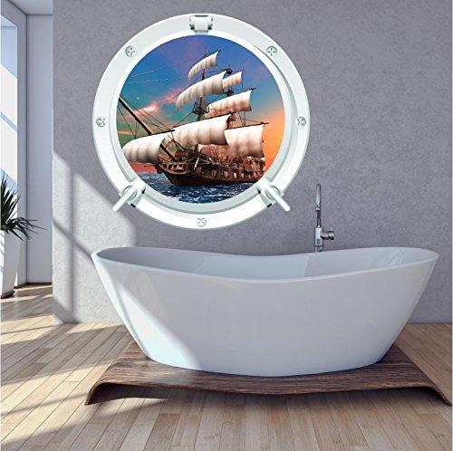Red Parrot Graphics Autocollant mural en forme de hublot avec bateau pirate et bateau de mer pour enfants - Impression couleur - XL 85 cm x 85 cm