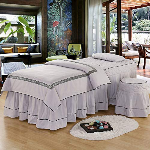 European Style Embroidery Beauty Bed Cover, Soft Massage Table Sheet Sets Bedspread with Face Rest Hole 3-Piece Massage Linens-Gray 70x190cm(28x75inch)