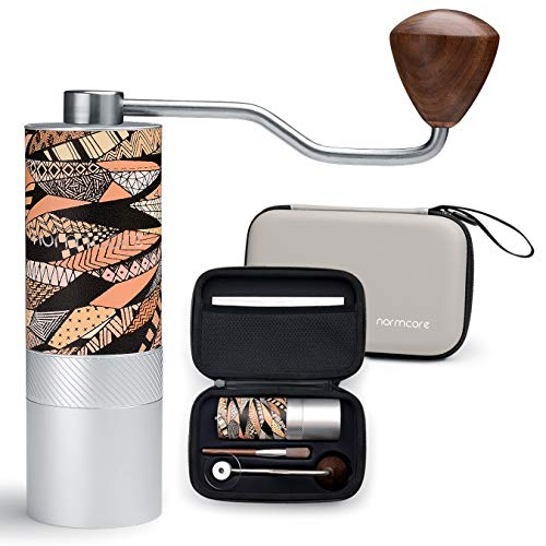 Normcore Manuelle Kaffeemühle - HandKaffeemühle aus Edelstahl kegelmahlwerk Mahlwerk 38mm Burr - Stufenlose Mahlgradeinstellung - Kapazität 25g