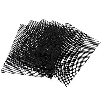 OSVINO Heat Resistant Non Stick BBQ Grill Mesh Mat Set of 5 Easy to Clean, Black