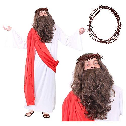 I LOVE FANCY DRESS LTD Disfraz DE Cristo para Adulto Conjunto TEMATICO para Adulto con Tunica Longa, Peluca con Barba Y con Corona DE ESPINOS Disfraz DE Jesus Cristo (ESTANDAR)