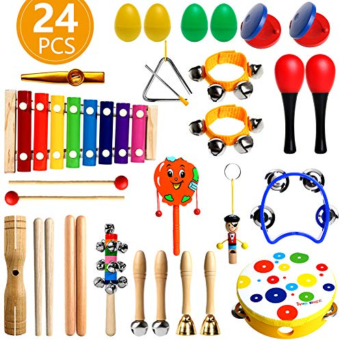 RAIN QUEEN Kids Musical Instruments, 24PCS Toddler Musical Instruments, Wooden Percussion Instruments Toys for Kids Preschool Educational, Musical Toys Set for Boys and Girls with Storage Backpack