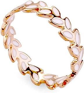 White Enamel Accent Olive Branch Design Band Ring