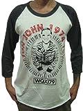 Bunny Brand Men's Elton John 1974 Concert Tour Music Raglan T-Shirt,Large, White