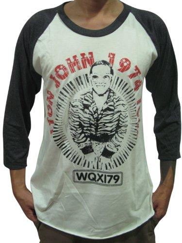 BUNNY BRAND Men's Elton John 1974 Concert Tour Music Raglan T-Shirt (X-Large, White)