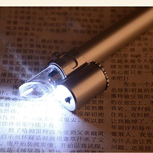 50X LED Illumination Pen Style Pocket Microscope Magnifying Glass with Reading Scales Portable Magnifier