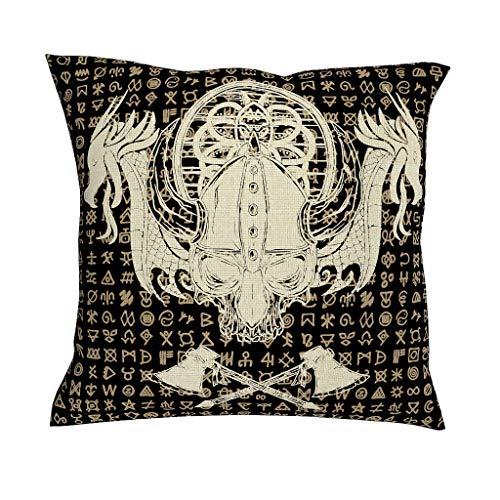 CCMugshop Effen Scandinavisch Vikinghelm, schedel, twee drakens, schip, gekruiste bijl, schetswerk, schilderijmotief, katoen, linnen, decoratief werp, kussenslopen, vierkante kussenovertrek voor koffiehuis