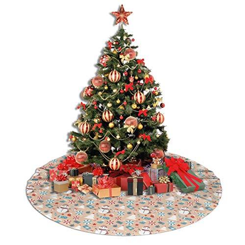 ASDJLK Christmas Tree Skirt, 48' Christmas Snowman Candy Tree Stars Xmas Tree Decorations for Holiday Party