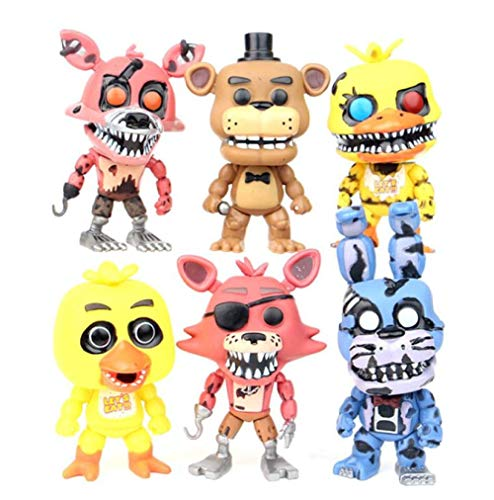 Yangzou Five Nights At Freddy'S Nightmare Freddy Chica Bonnie Foxy FNAF Toys 6 Unids / Set 12 Cm PVC Figura De Acción Modelo Muñeca Fazbear Bear Puppet