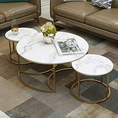 Living Room Coffee Tables Set of 3, Round Nesting Tables with White Marble and Gold Metal Iron Base, Nest of 3