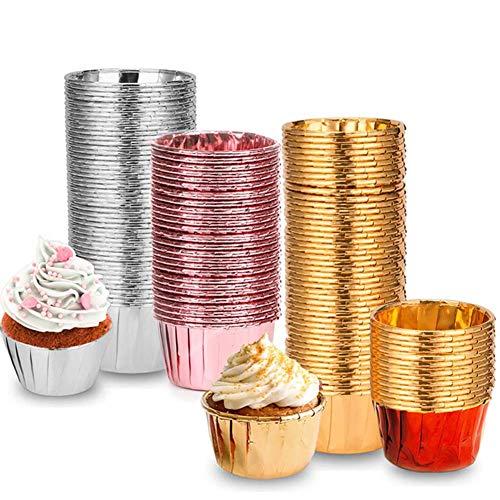 Mdurian 50 pièces doublures de Cupcake en Papier d'aluminium Double Face, moules de Cuisson Muffin emballages de gâteau de Tasse pour la fête de Mariage