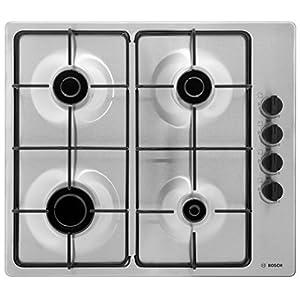 Bosch PBP6B5B80 Plaque à gaz Série 2 - Plaque de cuisson encastrable 4 foyers - 60 cm - Puissance 7400 W - Acier Inox