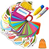 Gimilife Water Doodle Card, Children Early Education Cognitive Drawing Cards, Water Painting Magic Doodle Card Delicious Food with 2 Magic Pen Included, Beast Learning Toy for Toddlers Gift