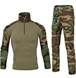 HARGLESMAN Men's Military BDU Uniform Fall Winter Summer Long Sleeve Paintball Top Shirt with PantTactical Combat Training Suit for Working Outdoor Jungle M