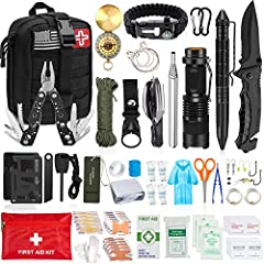 Exclusive 126 Pcs Survival Kit - Uniquely customized by U.S military veterans, our survival kit includes 28pcs emergency survival gears, 16pcs medical supplies, 10pcs fishing tools and 4 in 1 Molle EMT pouch to suit all your needs. Includes folding k...