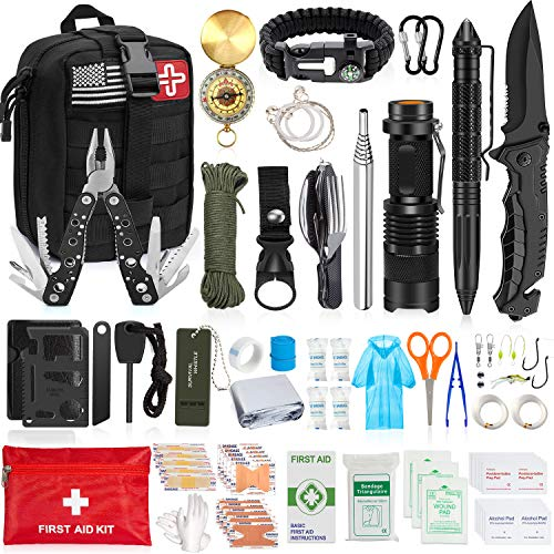 Aokiwo 126Pcs Emergency Survival Kit Professional Survival...