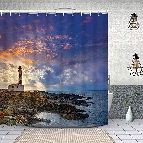Cortina Baño,Cap de Favaritx Sunset Lighthouse Cape en Mahón en las Islas Baleares España Costa,Cortina de Ducha Tela de Poliéster Resistente Al Agua Cortinas de Ducha Baño con 12 Ganchos,180x180cm