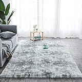 Walant Alfombra suave y antideslizante, alfombra decorativa de pelo largo para salón, comedor, habitación de los niños, dormitorio, sofá, lavable, 120 x 160 cm (gris)
