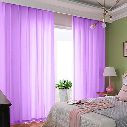 Chiffon Backdrop Curtain 2 Panels 29''x84'' Lavender Living Room Curtains Voile Sheer Curtains Light Purple Tulle Fabric Drapes Wedding ChiffonCurtainPanels Party Stage Backdrop