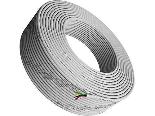 Phone Cable 300ft Rounded White Roll (100m Long) 4x1/0.4 26 AWG Gauge Solid Wire -Round Telephone Cord Line Extension Bulk Rool Reel -compatible with RJ11 4P4C Crimp End Connector Jack - Tupavco TP801