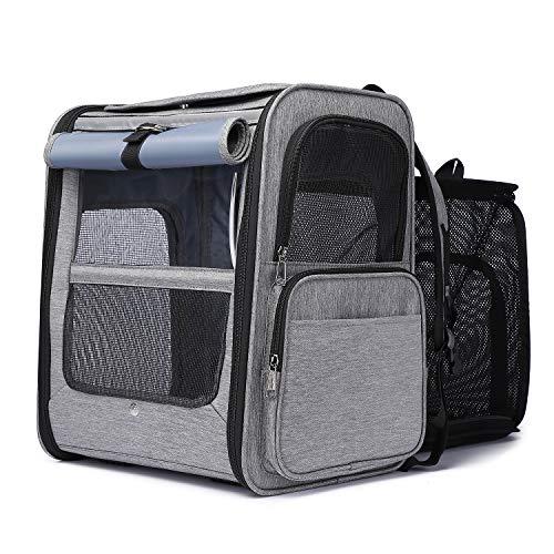 Rucksack für Katzen / Hunde, dehnbar, atmungsaktiv, Transporttasche, faltbar, für Haustiere mit abnehmbarer Plüsch-Matratze, für Camping, Wandern, Reisen in Zug/Auto/Flugzeug