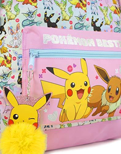51kAodCugvL - Mochila Escolar del brillo del rosa de Pokemon Pikachu Eevee Besties de chica