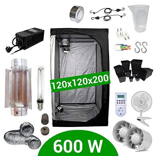 Kit Coltivazione Indoor 600W HPS Cooltube Protube - Grow Box 120x120x200 - Alimentatore ETI 2