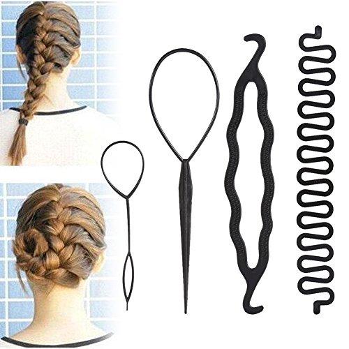 DIY Haar Styling Zubehör Tools Haare Frisuren Set Magic Einfache Fast Spiral Braid Flechten Haar Styling Set für Frauen Mädchen (4 Stück Flechtwerkzeug Rollensatz)