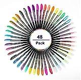 Mutsitaz 48 Colores Bolígrafos de Gel, bolis colores, incluye purpurina, metálico, neón y clásicos, para scrapbooking, colorear, dibujar y artesanal
