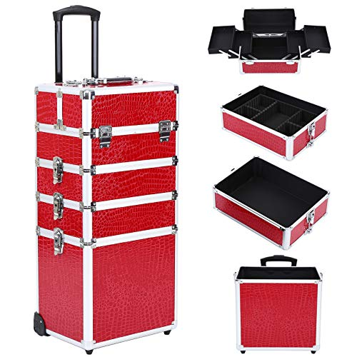 Ridgeyard 4 in 1 Universal Large Aluminium Frame Beauty Case Makeup Cosmetic Rolling Case Trolley Trunk Vanity Professional Portable Travel Organizer Box (Red)