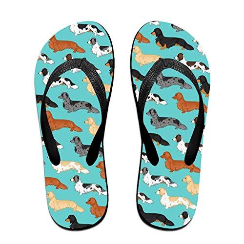 Dackel Wallpaper Unisex Erwachsene Casual Flip-Flops Sandale Pool Party Hausschuhe Badezimmer Wohnungen Open Toed Slide Schuhe L