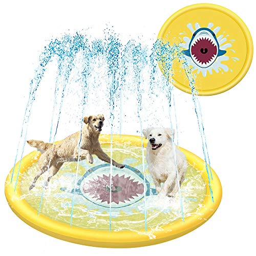 HeiYi Outdoor Splash Pads for Toddlers Kids Dogs, 68' Inflatable Sprinkler Pad for Children and Cats, Shark Splash Mat for Kids and Pets Yellow
