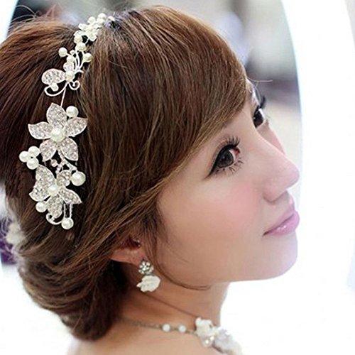 Kirinstores (TM) Silver-tone Flower Pearl Bead Hair Comb Hair Pins Bridal Accessories by KirinStores