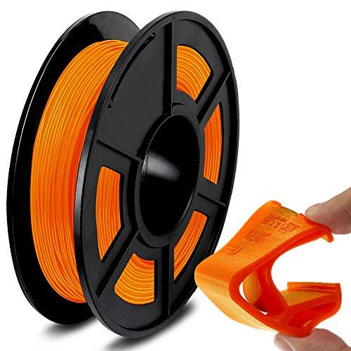SUNLU TPU Flexible Filament 1.75mm for 3D Printer 500g/Spool Dimensional Accuracy +/-0.03mm, Orange