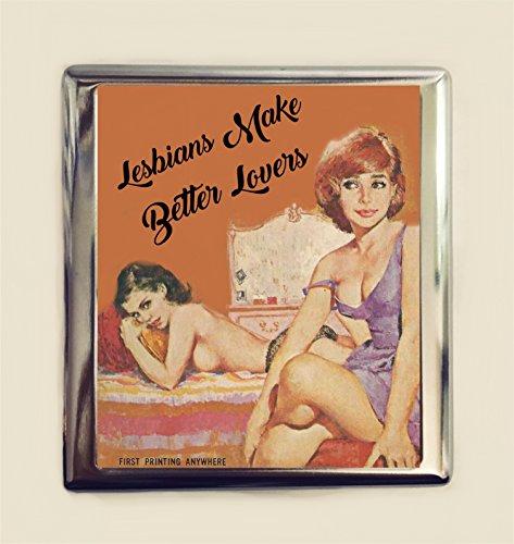 Lesbians Make Better Lovers Cigarette Case Business Card ID Holder Wallet Retro Lesbian LGBT Pulp Pride