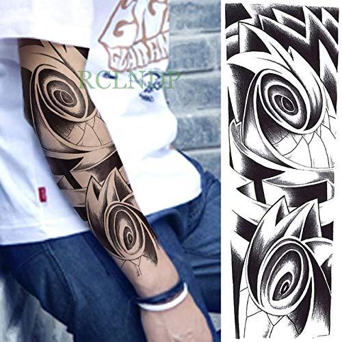 3 Piezas Etiqueta de Tatuaje a Prueba de Agua Brazo Completo Arma de Pulpo Diablo Maldición Tatuaje Tatuaje Hombre 3 piezas-12