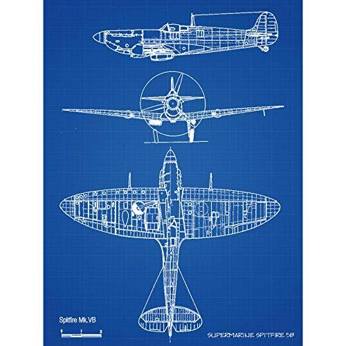 Supermarine Spitfire 5b Fighter Plane Blueprint Plan Large Wall Art Poster Print Thick Paper 18X24 Inch Kämpfer Ebene Blau Wand Poster drucken