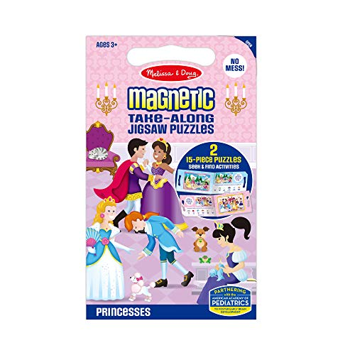 Melissa & Doug Take-Along Magnetic Jigsaw Puzzles Travel Toy – Princesses (2 15-Piece Puzzles)