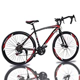 Sentuca Aluminum Road Bike, Carbon Fork Road Bike 21 Speed Disc Brakes, 700c, Red