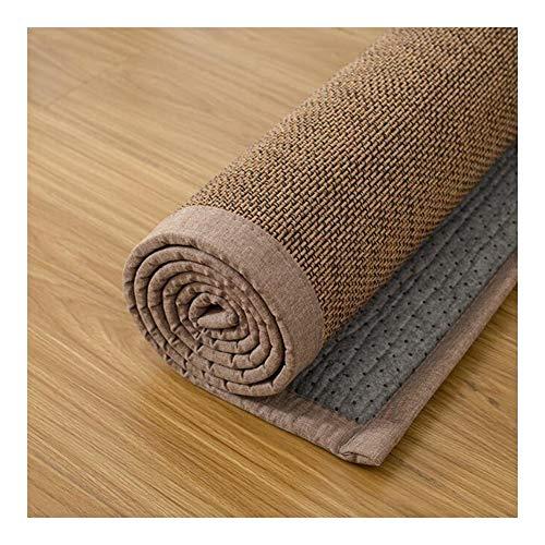 JIAJUAN Rechteck Naturfasern Bambus Teppich rutschfest Groß Fußboden Matte Schlafzimmer Wohnzimmer Balkon Atmungsaktiv Bereich Teppiche, 2 Arten (Color : A, Size : 100x200cm)