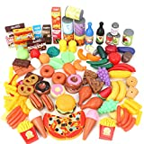 Magicfun 139 Pièces Jouets de Cuisine, Jeu D'imitation Jouet de Aliments Plastique pour Fruits et Légumes, Jouets Cadeaux Éducatif Tôt Développement pour Bébés Enfants
