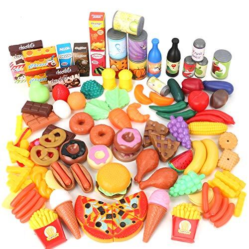 Magicfun 139 Pièces Jouets de Cuisine, Jeu Dimitation Jouet de Aliments Plastique pour Fruits et Légumes, Jouets Cadeaux Éducatif Tôt Développement pour Bébés Enfants