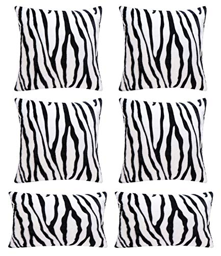Hodeacc 6 Pack Zebra Printed Series Pillow Covers,Soft Plush Animal Theme Faux Fur Decorative Throw Pillowcase Home Decor Cushion Cover,12x20+18x18 (CASE ONLY)