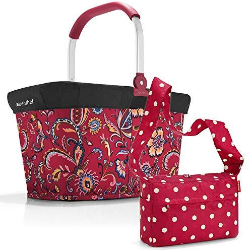 reisenthel Einkaufskorb carrybag mit Cover und Zugabe Einkaufskorb Einkaufstasche Einkaufsset (Paisley Ruby + Ruby dots)
