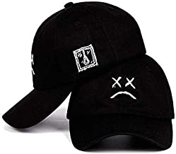 Home Fashion DIY Sad Boys Adjustable Hat Crying Face Embroidery Baseball Cap Dad Hat Hip Hop Cap Black (Black)